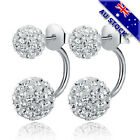 925 Sterling Silver Filled Clear Cz Crystal Ball Stud Bridesmaid Earrings
