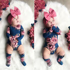 US Baby Newborn Girl Flower Romper Bodysuit Jumpsuit Leg Warmer Outfits Clothes