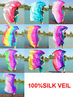 Colorful Gradient Women 100 Silk Scarf Shawl Belly Dance Veil Stage Performance