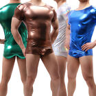 Men's Faux Leather Shiny T-shirt Tank Top Underwear Shirt Undershirt Shorts S-XL