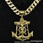 18K Gold Plated Anchor Crucified Jesus Cross Pendant with Cuban Necklace Chain