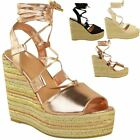 Womens High Wedge Platform Rope Espadrilles Ankle Lace Tie Up Open Toe Summer UK