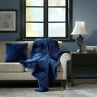 Luxury Oversized Navy Reversible Corduroy/Berber Down Alternative Throw - 60x70