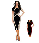 Women Hourglass Optical Illusion Short Sleeve Cocktail Work Pencil Bodycon Dress