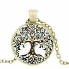 Glass Cabochon Pendant Tree Of Life Gem Chain Necklace Ladies Fashion Jewelry
