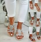 NEW LADIES WOMENS DIAMANTE FLAT LOW HEEL WEGDE SUMMER COMFY SANDALS SHOES SIZE