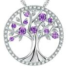 Women 925 Sterling Silver Tree of Life Necklace CZ Birthstones Pendant Jewellery