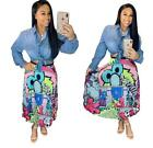 Hot Women ladies sexy cartoon print 3 styles pleated causal party skirt