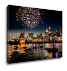 Gallery Wrapped Canvas, Fireworks Over Skyline Ohio River At A Fourth Of July Fe