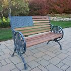 Oakland Living Proud American Old Glory Flag Cast Iron and Wood Bench