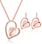 Ladies Women Pendant set Crystal Rose Gold Jewellery Set Stud Earrings Necklace