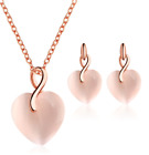 Ladies Womens Pendant Set Jewellery Crystal Rose Gold Stud Earrings Necklace