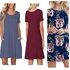 KORSIS Women's Summer Casual T Shirt Dresses Short Sleeve Swing with Pockets