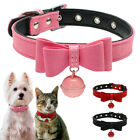 Soft Suede Leather Puppy Dog Collar & Bell for Small Dog Chihuahua Pug  XXS-M