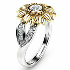 Crystal Sunflower Ring Women Girls White Topaz Wedding Ring Band Size 6-10 Gift image