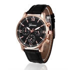 Mens Watches Wrist Watch Analog Quartz Fashion Gift Leather Strap in Black Brown