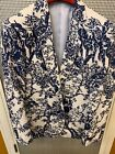 Navy blue and white floral blazer casual or dress