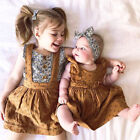 US Stock Toddler Kid Baby Girl Sister Matching Ruffle Cotton Romper Dress Outfit
