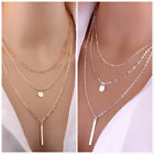 Necklace 3 Layered Coin Chain Hot Multilayer Choker Pendant Gold Silver Uk Stock