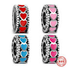 Beauty 925 Sterling Silver Charms Lovely Heart Space Beads Enamel Jewelry