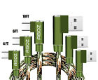 3Pack (4ft,6ft,10ft) Camo L Shape 90° Right Angle USB C Cable Fast Charger Cord