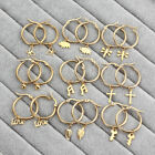 Women Girl Stainless Steel Small Hoop Earrings Silver/gold Dangle Cute Jewelry