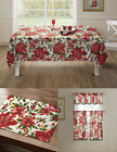 Poinsettia Christmas Kitchen Curtain Tablecloth & Placemats - Assorted Styles