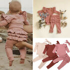 US Newborn Baby Girl Romper Bodysuit Frill Legging Pants Trousers Outfit Clothes
