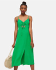 Topshop Ruched Front Molly Midi Slip Dress Emerald Green Size 6-16
