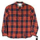 Levis NFL Denver Broncos Grid Iron Plaid Flannel Shirt Mens Orange Blue on eBay