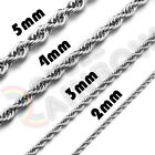 Kyпить Men Women Stainless Steel Silver 2mm/3mm/4mm/5mm Rope Necklace Chain Link C11 на еВаy.соm