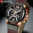 CURREN Chronograph Watches for Men Top Brand Military Leather Wrist Watch Gift