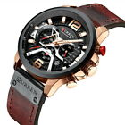 CURREN Chronograph Watches for Men Top Brand  Military Leather Wrist Watch Gift image