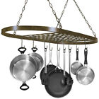 Pot and Pan Rack for Ceiling w/ Hooks - Decorative Oval Mounted Mounted Storage