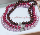 Fashion 8/10/12mm South Sea Multicolor Shell Pearl Round Beads Necklace 18'' Aaa