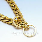 "Silver/Gold Flat Curb Link Stainless Steel Dog Chain Collar Jewelry 12""-28"""