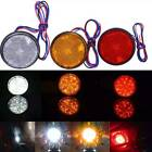 2x Universal Car Motorcycle Round 24led Marker Reflector Brake Rear Tail Lights