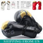 Leather Boxing Gloves Muay Thai Training Punching Bag Sparring Gloves MMA Fight