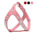 Suede Leather Chihuahua Dog Harness Vest Bling Rhinestone Gems Small Medium Pink