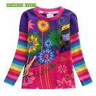 Girls Kids Rainbow Candy Colored Cotton Tops Long Sleeve Floral T-Shirts Tees