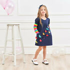 Girls 100% Cotton Sequence Patchwork Long Sleeve Cotton Casual Princess Dresses