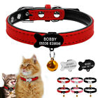 Cosy Suede Leather Cat Collars & Tags Personalised Fish ID Name Phone Tag Collar