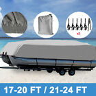 17-24ft 210D Heavy Duty Waterproof Boat Cover Grey Pontoon Beam with up to 102''