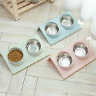Stainless Double Food Water Pet Feeding Bowl Puppy Cat Dog Kitten NON Slip Dish