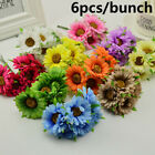 6pcs Artificial Silk Gerbera Daisy Fake Flower Bouquet Home Party Garden Decor.