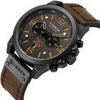 CURREN Military Men's Watches Top Sport Chronograph Leather Army Infantry Watch image