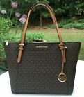 Michael Kors Large CIARA  Top Zip Leather/ Signature Tote Bag