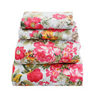 Beautiful Floral Sheet Set Soft Comfortable Pinkish Red & Yellow Floral image