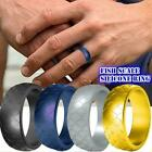 Fish Scale Soft Silicone Ring Men Women Sports Wedding Flexible Bands Rubbe K9O8