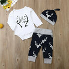 FixedPricenewborn baby boy clothes little man romper tops+deer pants+hat xmas outfits us
